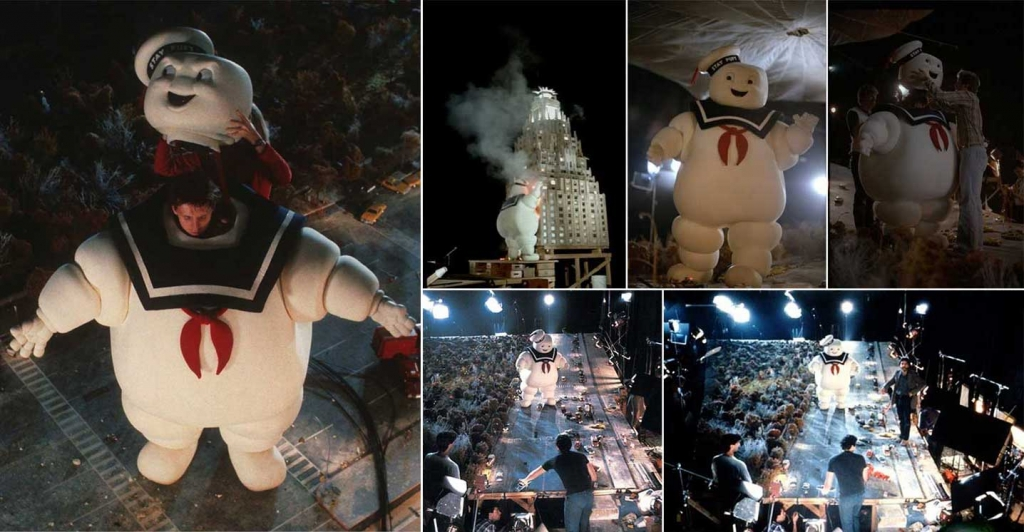 Bill-Bryan-as-the-Stay-Puft-Marshmallow-Man-filming-the-famous-scene-for-Ghostbusters-1